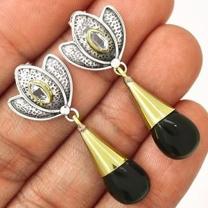 Lotus Black Onyx & Herkimer Diamond 925 Earrings